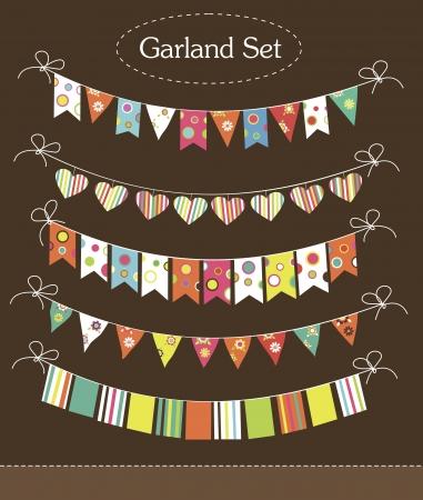 Illustration for vintage garland collection  illustration - Royalty Free Image