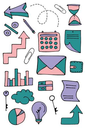 Set of hand drawn office objects. Vector illustration.
