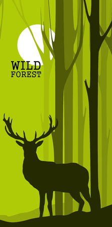 Illustration pour Vertical abstract banners of wild deer in forest with trunks of trees - image libre de droit