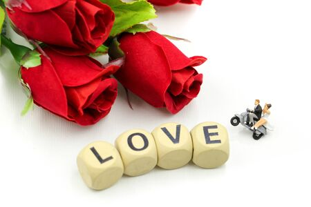 Photo for Miniature people : Couple lover and Love text wooden blocks with rose and gift box, Lover concept. - Royalty Free Image