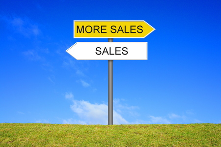Signpost outside is showing Sales and More Sales