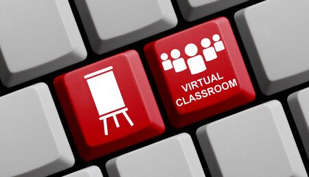 Photo pour Red computer keyboard showing Virtual Classroom concept - image libre de droit