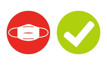 Photo pour Mask for Coronavirus Protection and Tick Symbol in red and green circles - image libre de droit