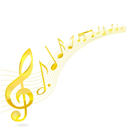 abstract music key sign gold color isolated