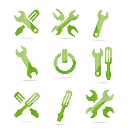 Illustration pour abstract industrial symbols set green color - image libre de droit