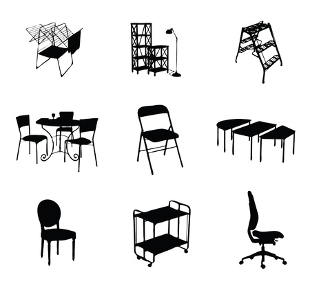 silhouettes of furniture set black color