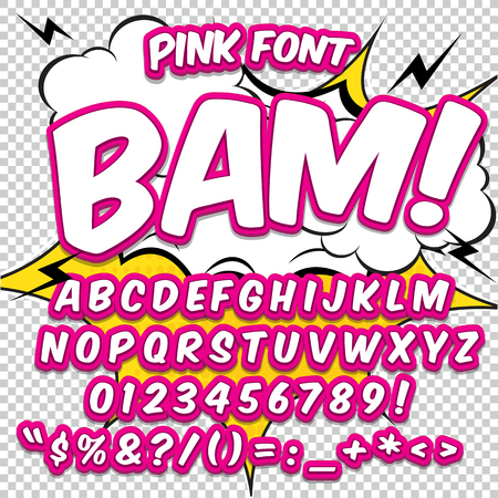 Illustration pour Creative high detail comic font. Alphabet in the style of comics, pop art. Letters and figures for decoration of kids' illustrations, websites, posters, comics and banners. - image libre de droit