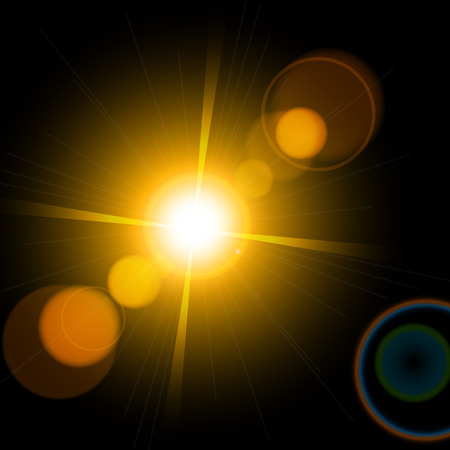 Beautiful bright lens flares. Lighting effects of flash. Star with lens flare