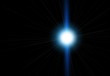 Sun flash with rays and spotlight. Light effect, sun rays, beams on black background. Easy to use
