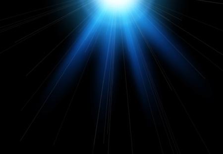 Sun flash with rays and spotlight. Light effect, sun rays, beams on black background.