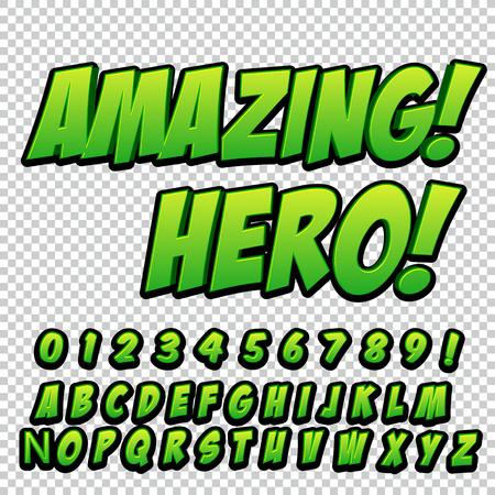 Illustration pour Comic alphabet set. Letters, numbers and figures for kids' illustrations websites comics banners - image libre de droit