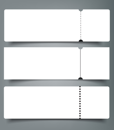 Illustration pour Set of blank event concert ticket mock-up template. Concert, party or festival ticket design template. - image libre de droit