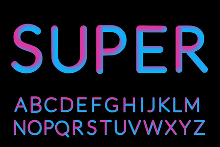 Illustration for Neon Holographic Bubble Typeset. Fluid color typeface set isolated on black background. - Royalty Free Image