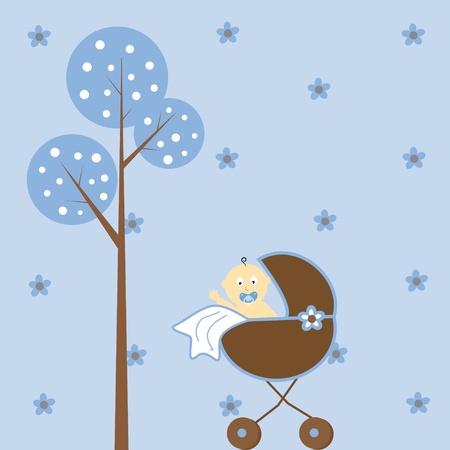 Foto de Baby Boy in Stroller - Imagen libre de derechos