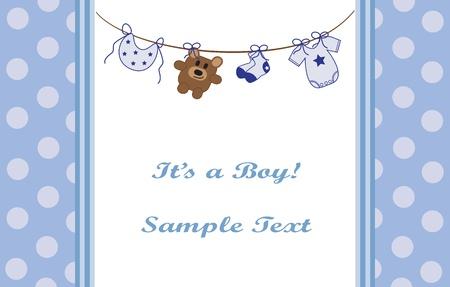 Photo pour Blue Baby Boy Announcement - image libre de droit