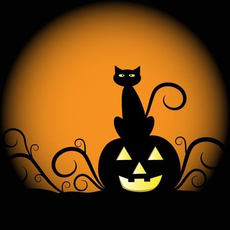 Illustration pour Pumpkin and Cat - image libre de droit