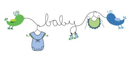 Illustration pour Baby Boy Clothes Line - image libre de droit