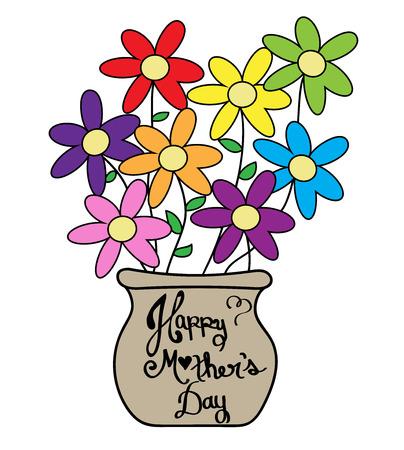 Illustration pour Mother's Day Colorful Flower Pot - image libre de droit