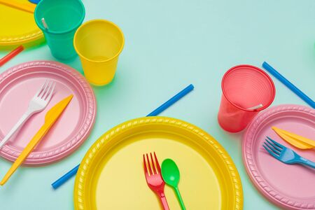 Photo for Set of colorful plastic dishware - Royalty Free Image