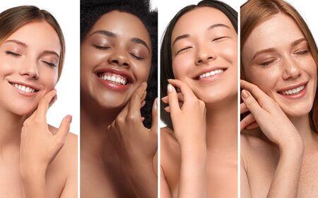 Photo pour Happy diverse women enjoying skin softness - image libre de droit