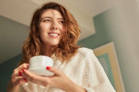 Photo for Happy woman enjoying morning coffee - Royalty Free Image