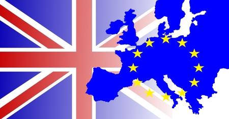 United Kingdom and Gibraltar European Union membership referendum - The British flag outshines the map of Europe, marked by the European stars.