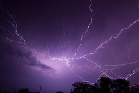 Lightning Bolt in Night Sky