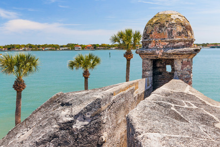 A sentry box turret overlooks Matanzas Bay at the Castillo de San Marcos, a seventeenth century Spanish Fort in Saint Augustine, Florida