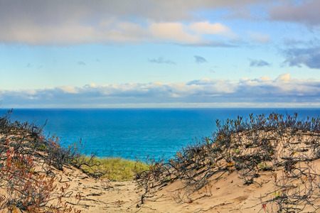The light of early morning illumines the landscape of Grand Sable Dunes and Lake Superior at Upper Peninsula Michigan\\\\\\\\