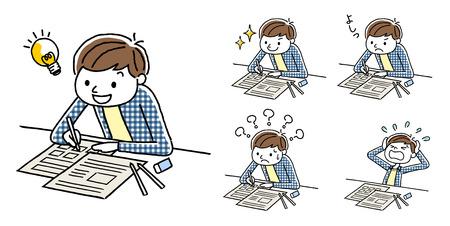 Ilustración de Boy's Set to Study Variation - Imagen libre de derechos