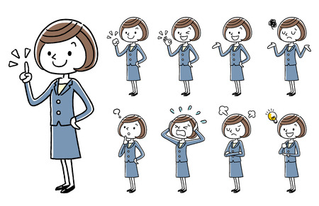 Illustration pour Business Young women, cartoon style set. - image libre de droit