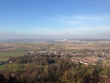 Landscape shot of Runcorn and the river Mersey
