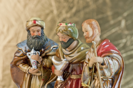 Three wise men gathered to present gifts