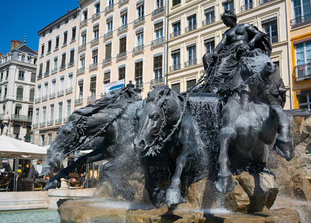 Bartholdi fountain erected at the Place des Terreaux square after restoration in Lyon France