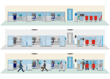 Illustration pour New office style. office infection control. - image libre de droit
