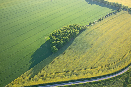 Aerial view of fields in Saxony, Germany