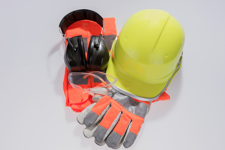 Standard construction safety equipment isolated