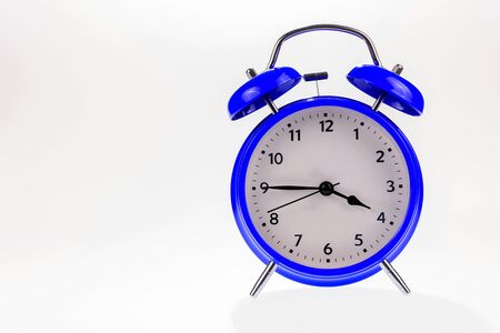 Photo for Blue retro alarm clock isolated on white, Time concept - Royalty Free Image