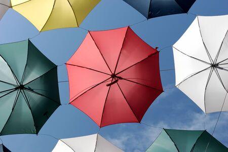 Foto de Colorful umbrellas of the rue du Cul-de-Sac, in the Petit Champlain district, in Quebec City - Imagen libre de derechos