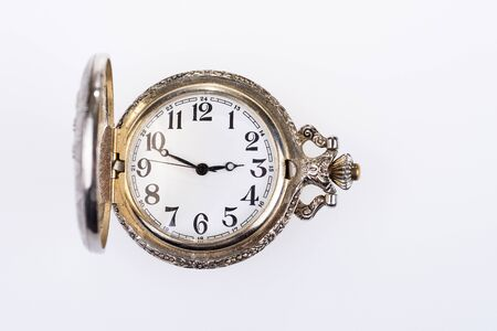 Photo pour Antique analog pocket watch with hands and numbers. Vintage pocket watch - image libre de droit