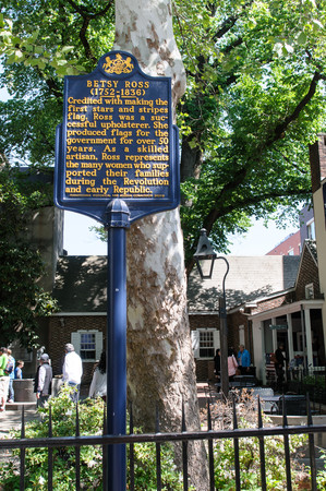 PHILADELPHIA, PA - MAY 14: Historic sign in front of the Betsy Ross House at 239 Arch Street on May 14, 2015
