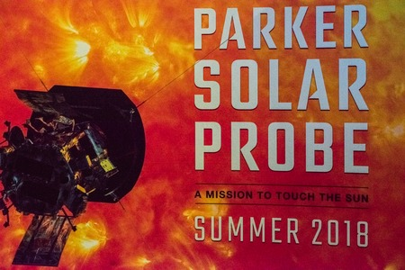 Cape Canaveral, Florida - August 13, 2018: Sign for Parker Solar Probe at NASA Kennedy Space Center
