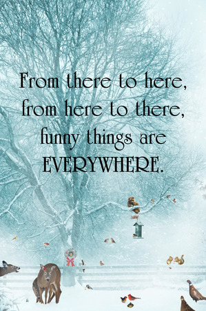 Inspirational quote about humor, with funny animals gathering during a snowstorm.