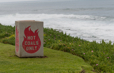 Hot Coals Only Bin on Green Cliff in public park