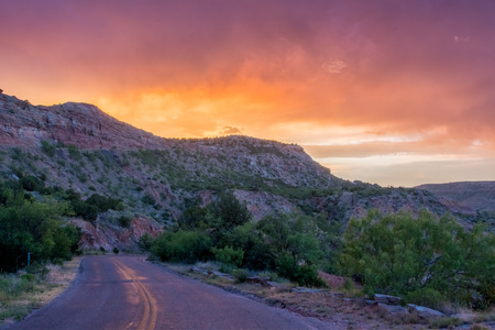 Sunset and Road at Palo Duro in west Texas