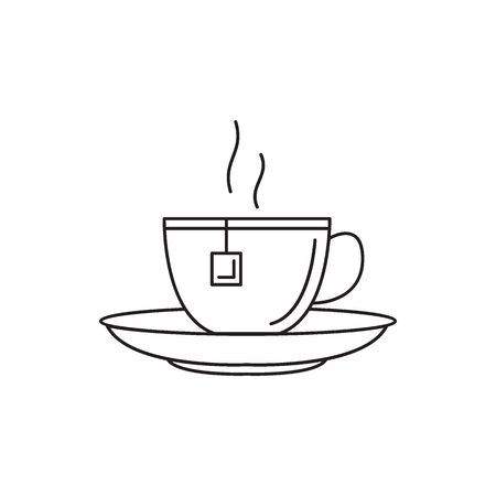 Illustration pour Black tea cup icon. Outline black tea cup vector icon for web design isolated on white background - image libre de droit