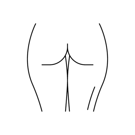Human ass icon. Outline human ass vector icon for web design isolated on white background