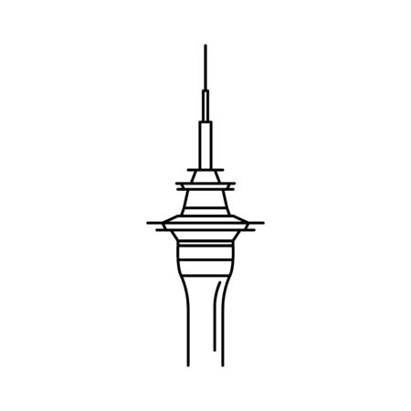Ilustración de Tower icon. Outline tower vector icon for web design isolated on white background - Imagen libre de derechos