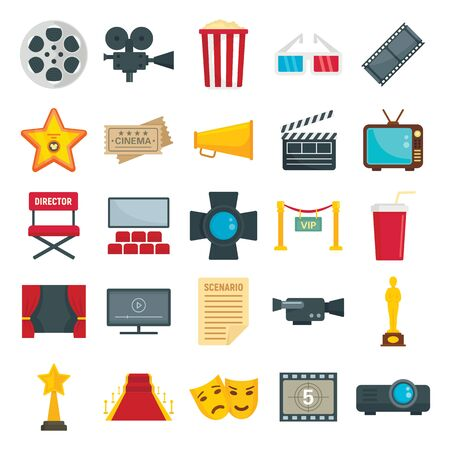 Illustration pour Flat set of cinema and TV symbols. Vector collection of tickets, popcorn, camera isolated on white background. Movie cinema, TV and ticket to entertainment - image libre de droit
