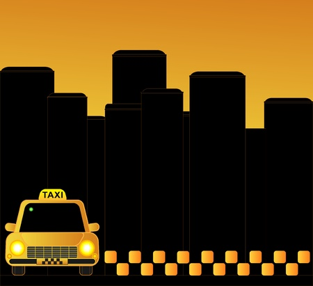 urban taxi background with many skyscrapers